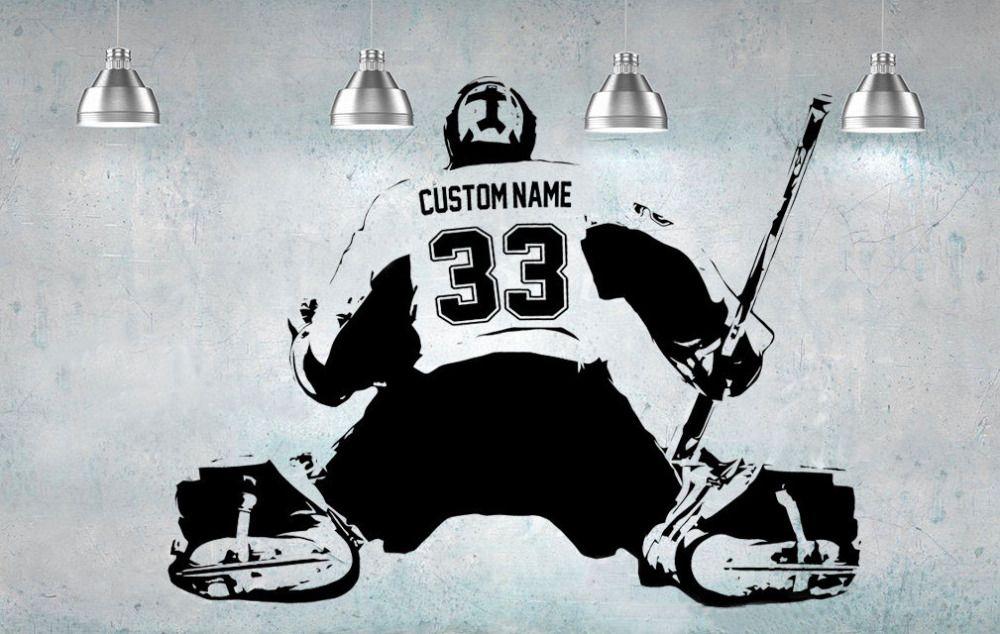 Хоккей вратарь плеер Wall Art Наклейка Стикеры персонализированные имя номер домашнего декора Наклейки на стену для детской комнаты мальчика ...