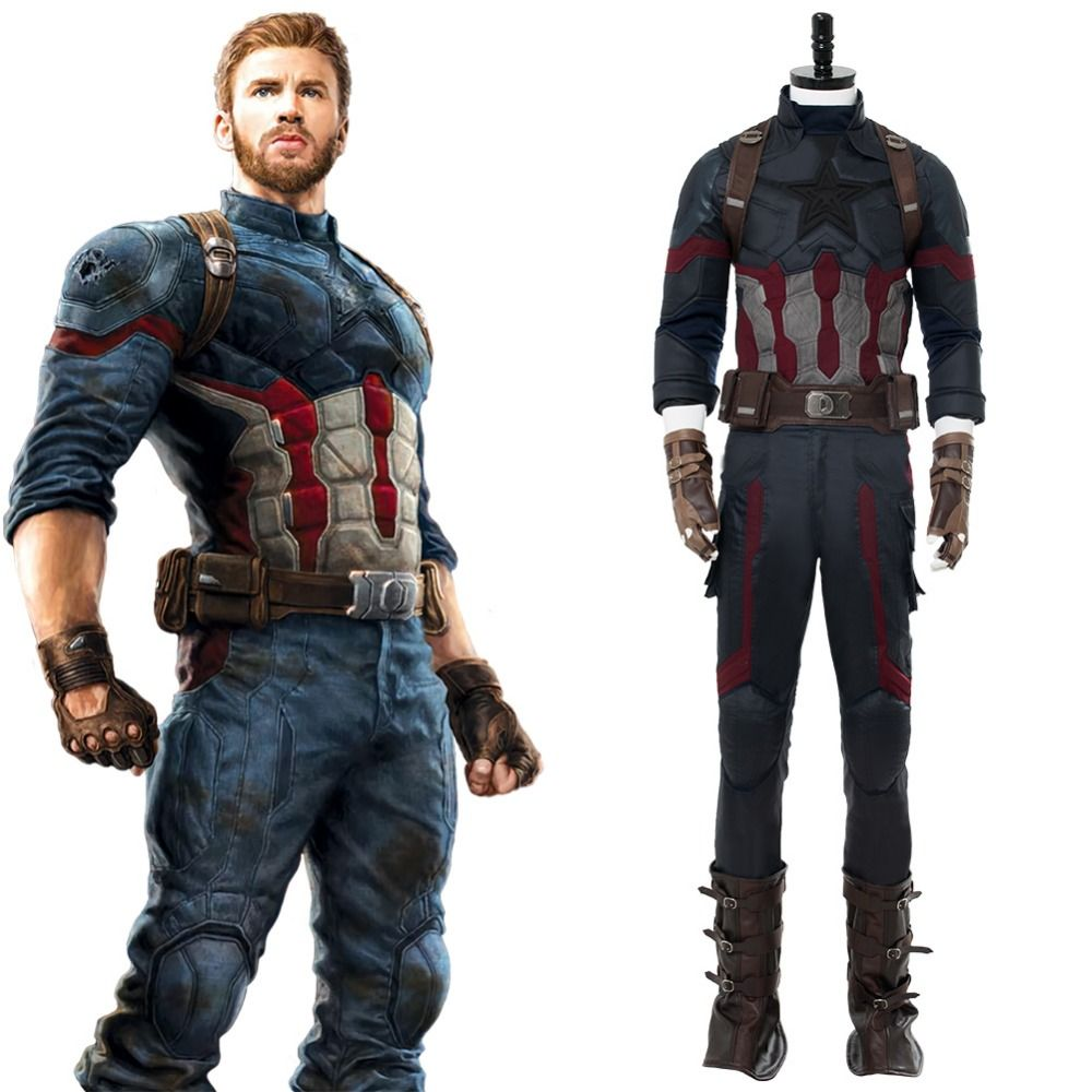 Avengers: Infinity War Captain America Steven Rogers Cosplay Costume Adult Men Full Sets Outfit New Arrival Halloween Costume