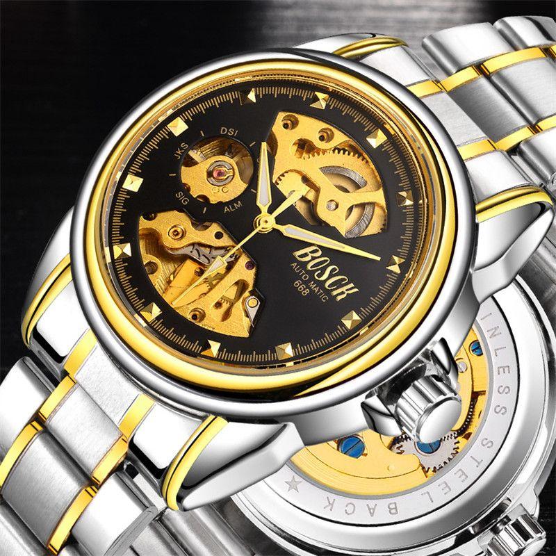 2017 latest automatic mechanical watch waterproof men, skeleton men's stainless steel watch, well-known brand BOSCH gold watch
