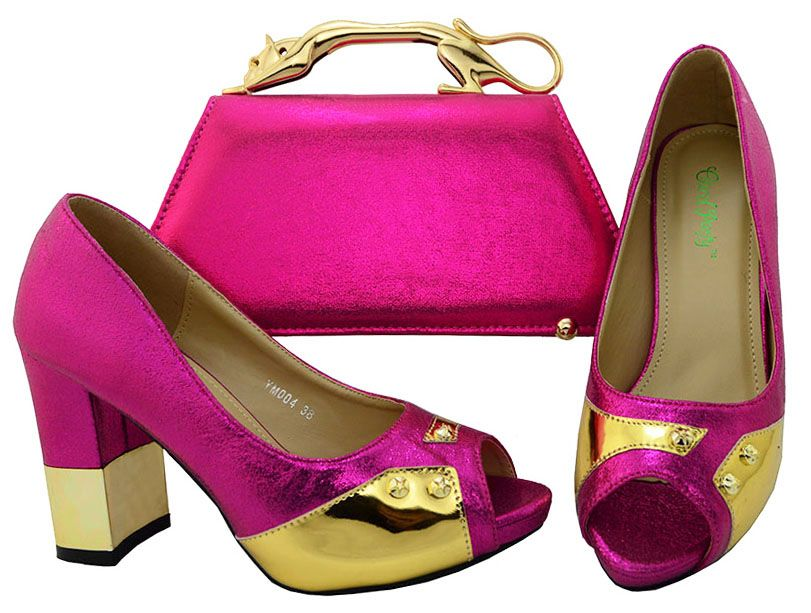 Fuchsia Shoes and Bags for Wedding African Women Matching Italian Shoe and Bag Set Decorated with Metal Italy Shoes and Bags