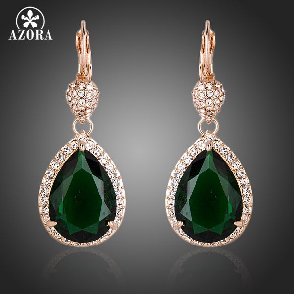 AZORA Noble Rose Gold Color Dark Green CZ With Crystal Surround Water Drop Earrings TE0157