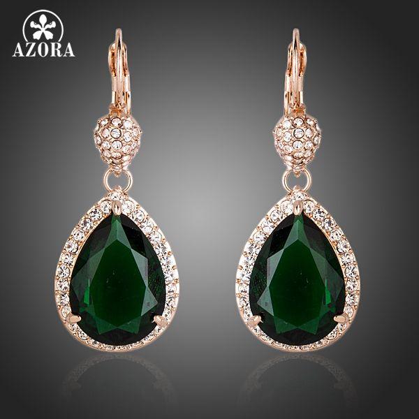 AZORA Noble Oro Rosa CZ Con Marco de Cristal Pendientes de Gota de Agua de Color Verde Oscuro TE0157