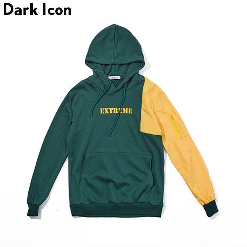 Dark Icon Patchwork Color Block Pullover Hip Hop Hoodies Men 2017 Autumn Terry Material Oversized Men's Hoodies Black Green