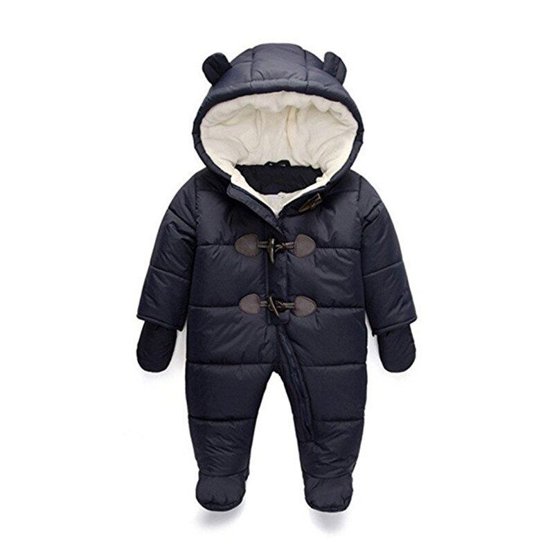 Cold Winter Rompers Baby Clothes Children Boy Girl Jumpsuit <font><b>Kids</b></font> Duck Down Cotton Overalls snowsuit Hoodies Clothing