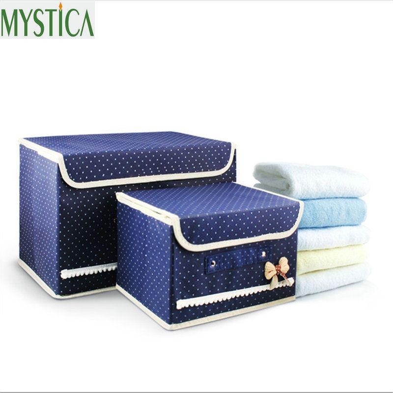2 Unids Venta Caliente Tela No Tejida Plegable Caja de Almacenamiento Caja Para El sujetador calcetines corbata organizador del almacenaje para el paño caja de almacenamiento de impresión