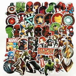 NEW 50Pcs/Lot Marvel Anime Classic Stickers Toy For Laptop Skateboard Luggage Decal Waterproof Funny Spiderman Stickers For kid