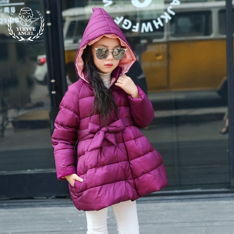 New 2018 Childrens Winter Jacket Cap Keep Warm Down Jacket For Girl Belted Thicken Baby Girl Clothes Purple Green Girls Coat 5T