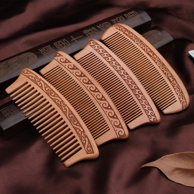NAPSE L13 Double-sided carved large mahogany comb Anti-static portable makeup comb Thicken-shaped wooden comb