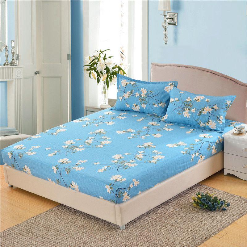 Mecerock drap housse 100% Polyester couvre matelas quatre coins avec bande élastique draps taies d'oreiller