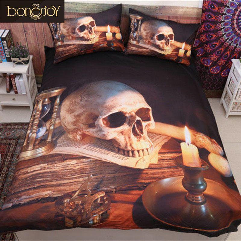 Bonenjoy 3D Skull Duvet Cover Queen Size Polyester Cotton Bed Sheet Skull With Candle Duvet Cover Bedding Kit