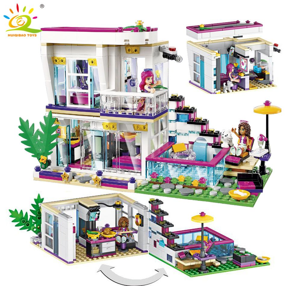 760PCS Pop Star Livi's House Building Block Compatible Legoing Friend For Girls figures Bricks Educational Toys for children