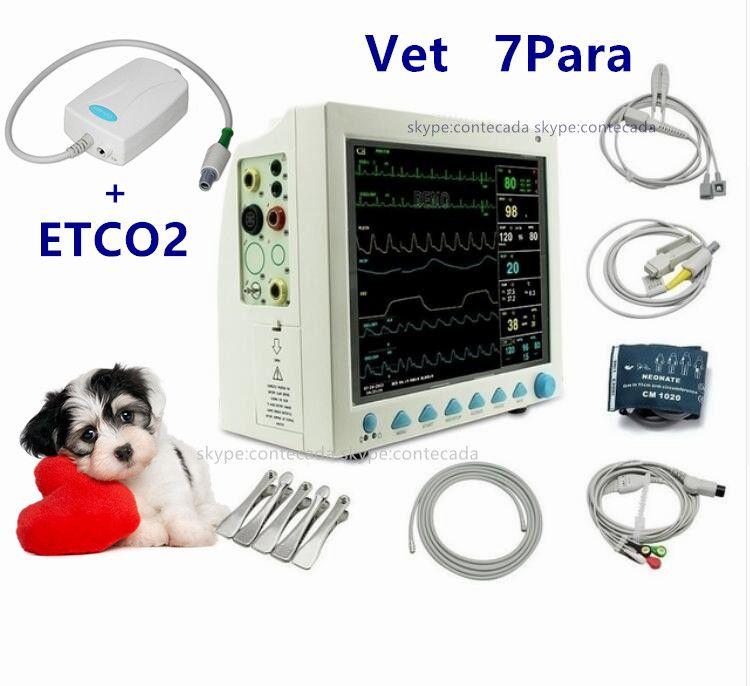 CONTEC CMS8000 VET Veterinary Patientenmonitor Capnograph Vital Signs 7 parameter + ETCO2 ICUECG, RESP, SpO2, PR, NIBP