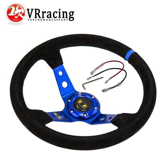 VR RACING - Blue Steering wheel ID=14inch 350mm OMP Deep Corn Drifting Steering Wheel / Suede Leather Steering wheels VR-SW21B