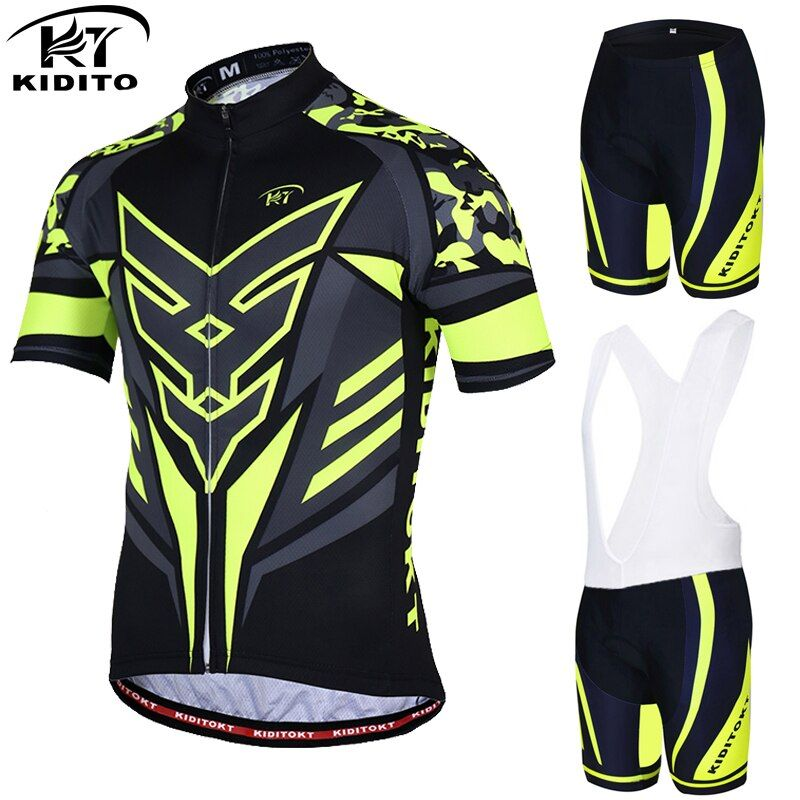 KIDITOKT Flour Yellow Cycling sets Bicycle Wear MTB Cycling Clothing Ropa Ciclismo Bike Cycle uniform Racing Cycling Jersey Set