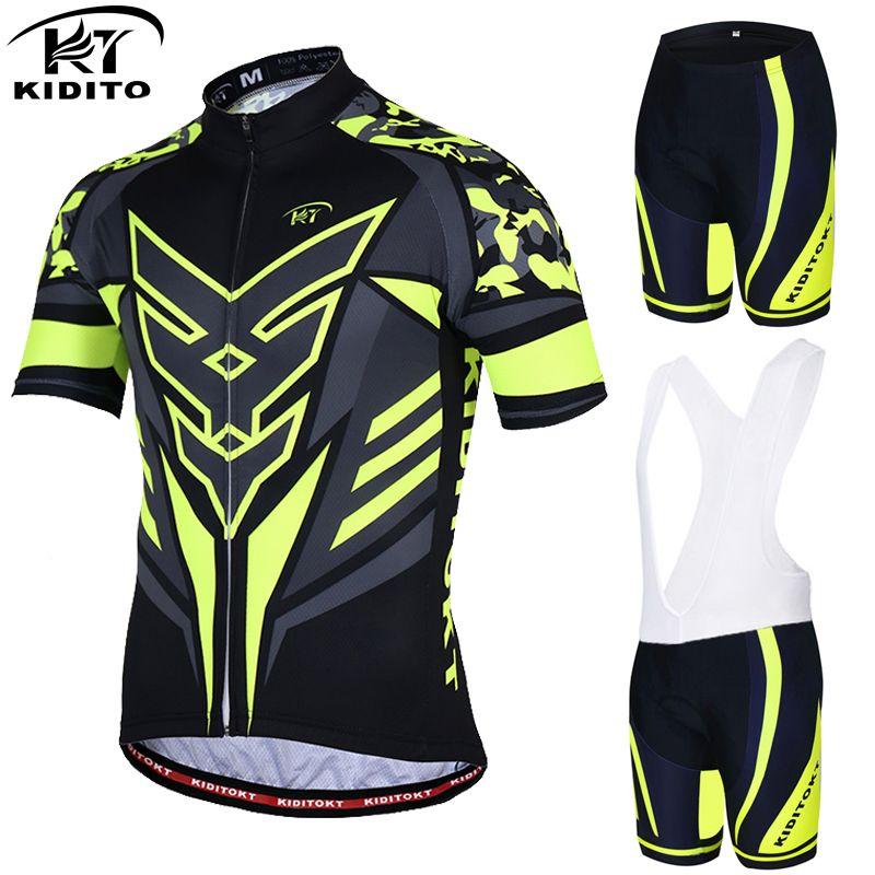 KIDITOKT Flour Yellow Cycling sets Bicycle Wear MTB Cycling Clothing Ropa Ciclismo Bike Cycle uniform Racing Cycling Jersey Set