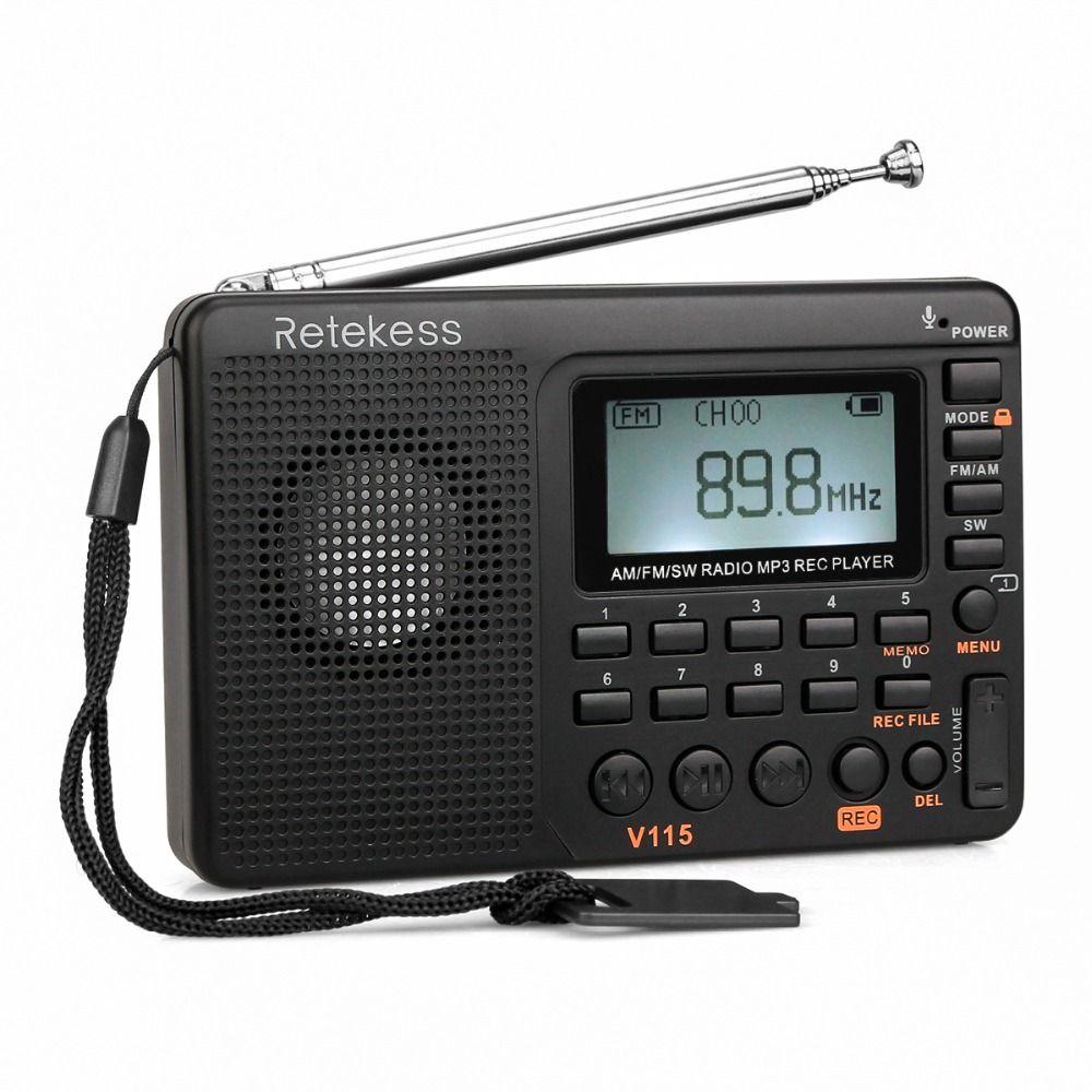 TIVDIO V-115 FM/AM/SW Radio <font><b>Receiver</b></font> Bass Sound MP3 Player REC Recorder Portable Radio with Sleep Timer F9205A