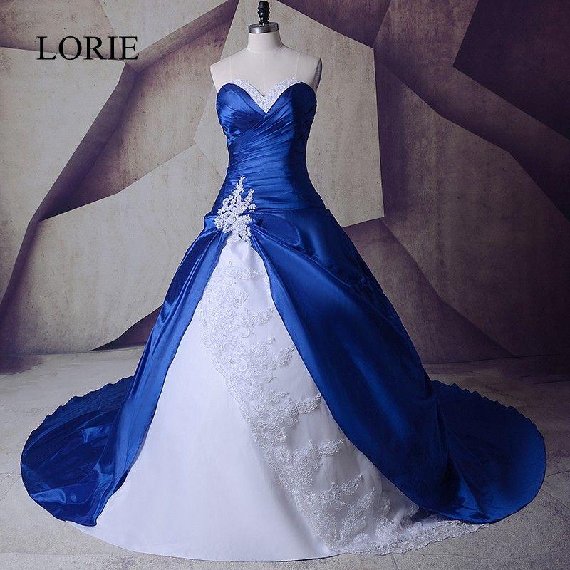 Vintage azul real y vestidos blancos de boda Vestidos 2017 sweetheart Encaje hasta vestidos de Noiva más tamaño sexy nupcial largo vestidos