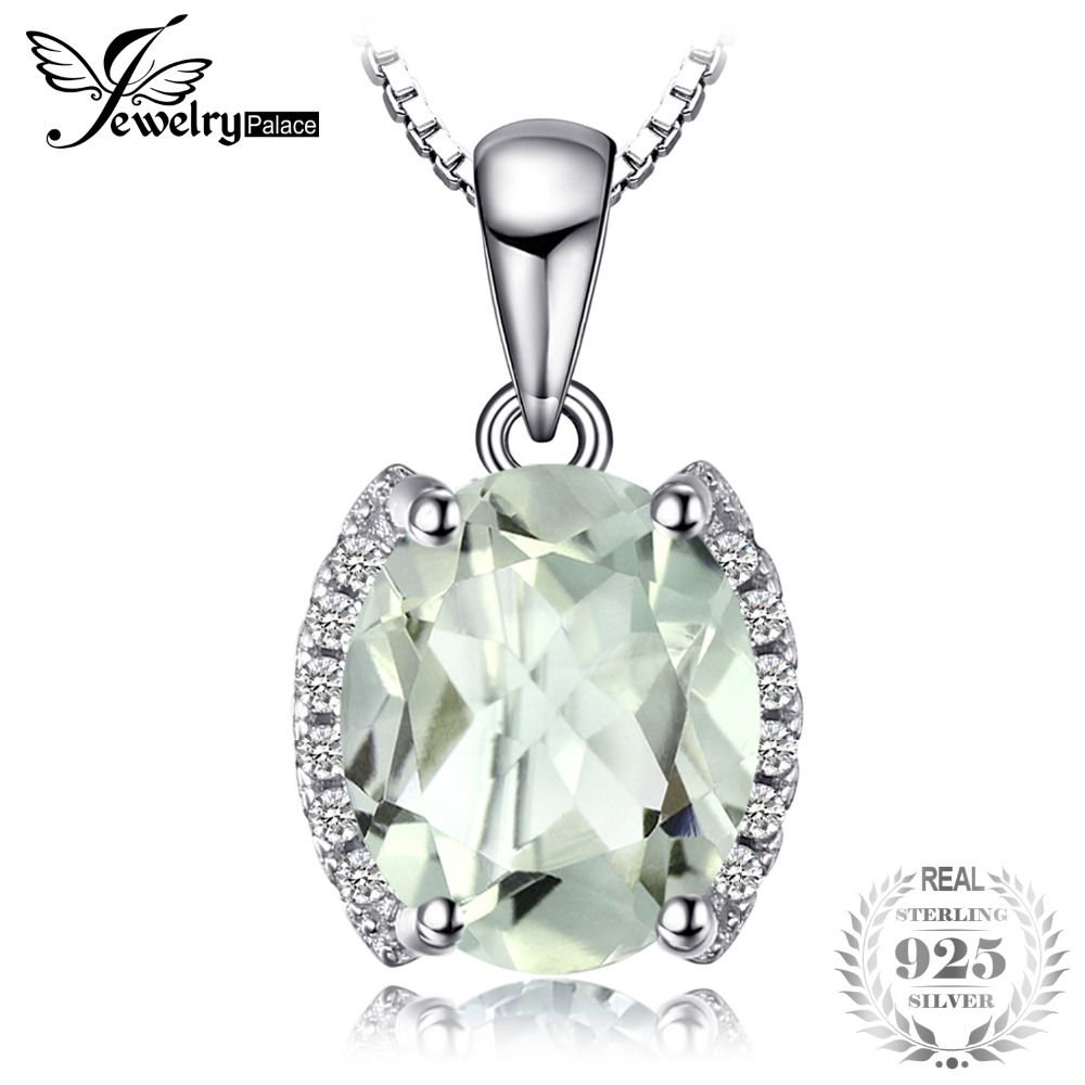 JewelryPalace Oval 1.83 ct Green Amethyst Natural Stone Pendant Necklace 925 Sterling Silver Vintage Jewelry Not Include A Chain