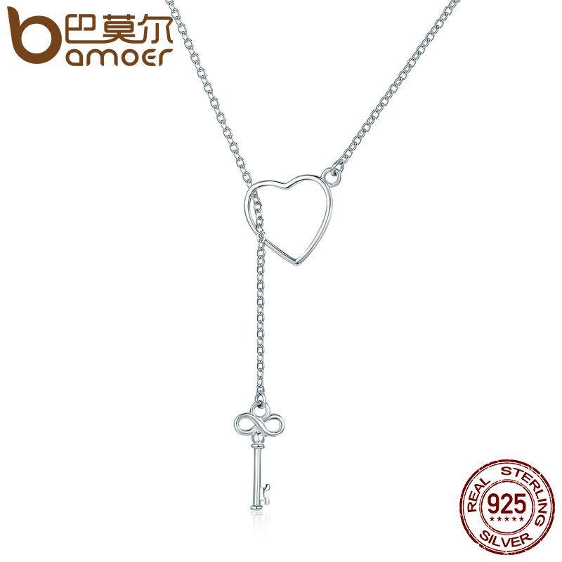 BAMOER 925 Sterling Silver Sweet Key of Heart Lock Link Chain Necklaces & Pendants Women Luxury Sterling Silver Jewelry SCN107