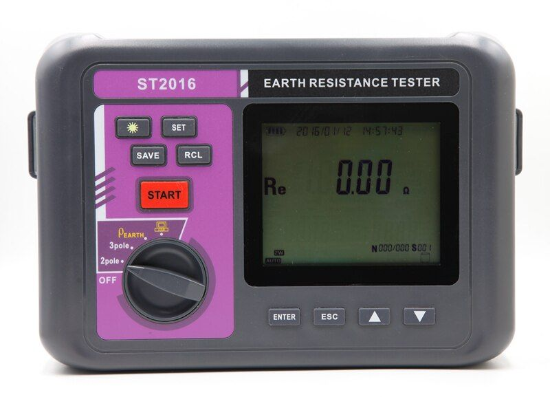 Auto Range Digital Earth Resistance Resistivity Meter Intelligent LCD 3 Pole Ground Resistance Meter Soil Resistivity Tester