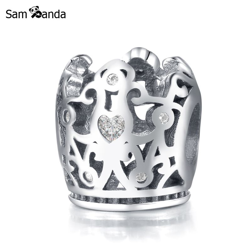 Authentic 925 Sterling Silver Bead Charm Vintage Crown With Heart Crystal Beads Fit Bracelet Bangle DIY Jewelry YW20056