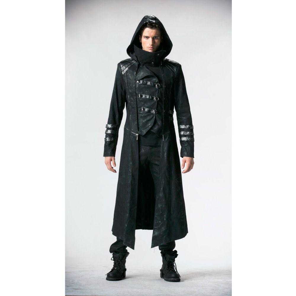Панк Rave Модные мужские панк Streampunk visual kei Готический длинные и короткие пальто куртки с капюшоном Y364
