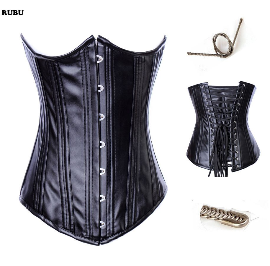 black faux leather steel boned sexy  corsets and bustiers waist trainer gothic leather corset
