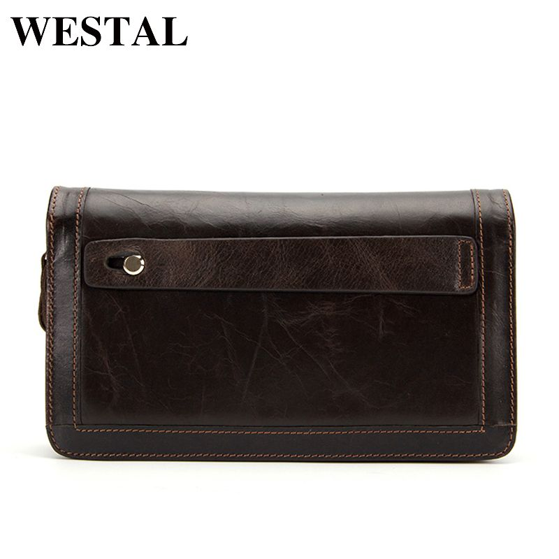 WESTAL men wallets genuine leather wallet male wallet for credit card zipper long solid men black fashion clutch wallet 9013