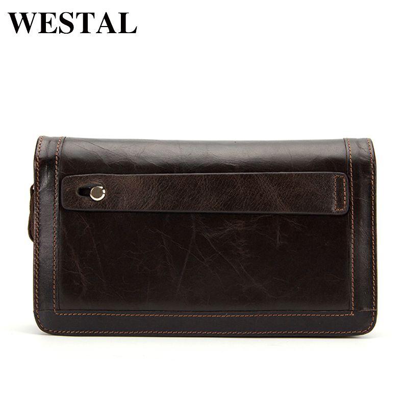 WESTAL men wallets genuine leather wallet male wallet for credit card zipper long solid men black fashion clutch wallet 9013