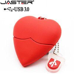 Jaster USB 3.0 Merah Berbentuk Hati USB Flash Drive Pen Drive 4 GB/8 GB/16 GB /32 GB/64 GB Kecantikan Memori Stik Hadiah Yang Indah untuk Gadis