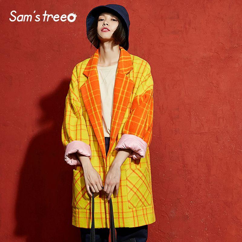 Samstree Winter Female Blends Coat Yellow Plaid Batwing Sleeve Vintage Women Coat Drop-shoulder Turn-down Collar