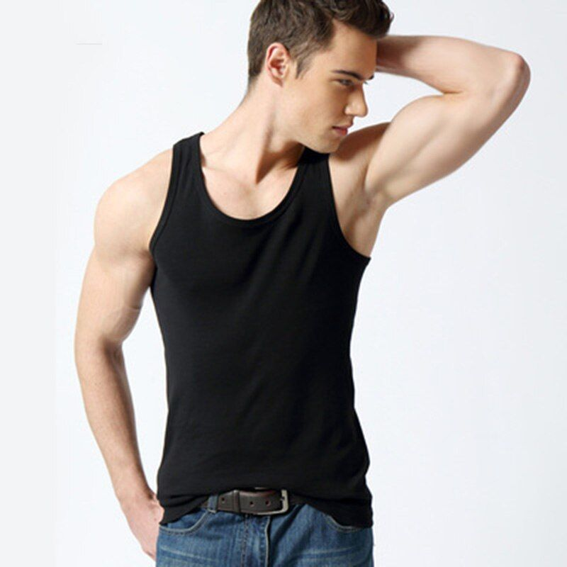 Drop Shipping Men's cotton Slim-bodybuilding hurdles solid color cotton sweater summer