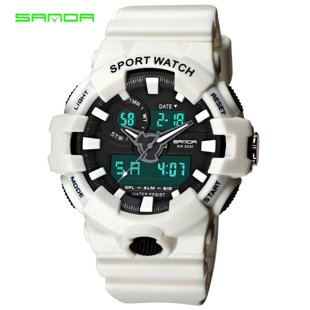 SANDA Brand New Luxury Watch Men LED Digital Waterproof Wristwatch Fashion G Casual Shock Military Sport Watches relojes hombre
