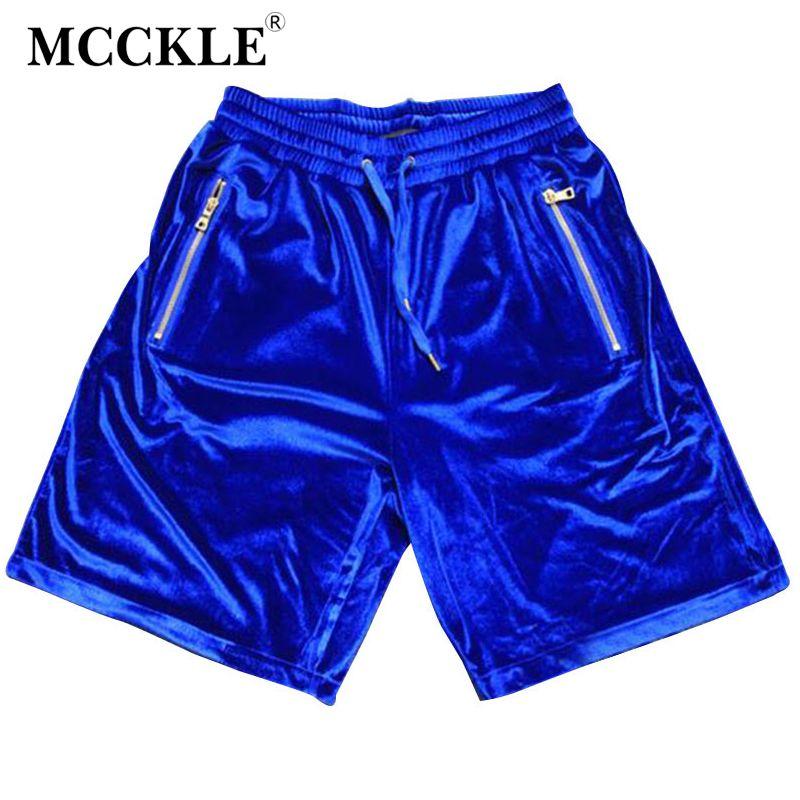MCCKLE Mode Salut-Rue Mens Velours Hip Hop Shorts D'or Fermeture Éclair Velours Joggeurs Shorts Streetwear Taille Élastique Shorts Occasionnels