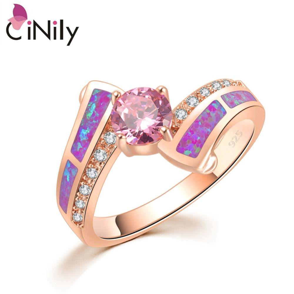 CiNily intemporel Violet Violet opale de feu anneaux couleur or Rose cubique zircone cristal pierre ronde classique bijoux femmes fille