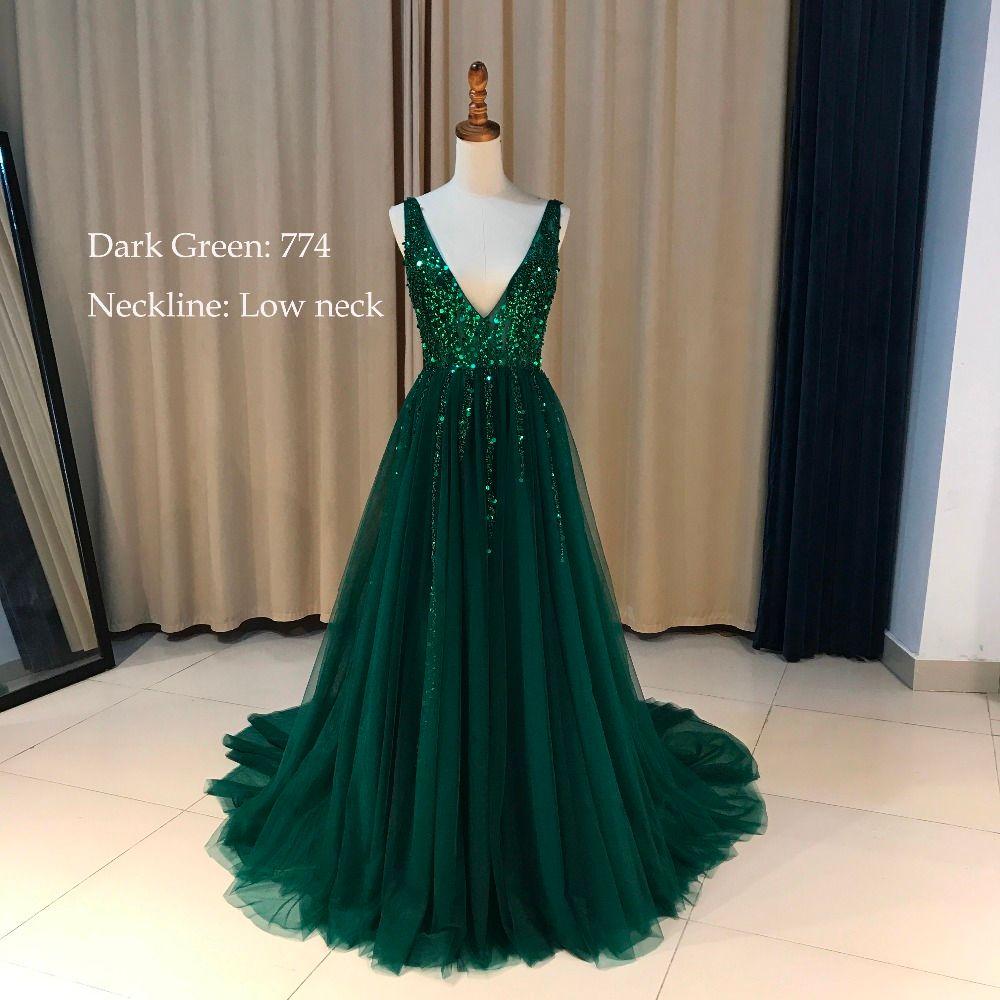 Plus Size High Side Dividir Vestido de Fiesta Verde del A-Line de Tulle Vestido de Fiesta largo Con Cuentas de Lentejuelas Sexy Espalda Abierta de Noche Formal vestidos