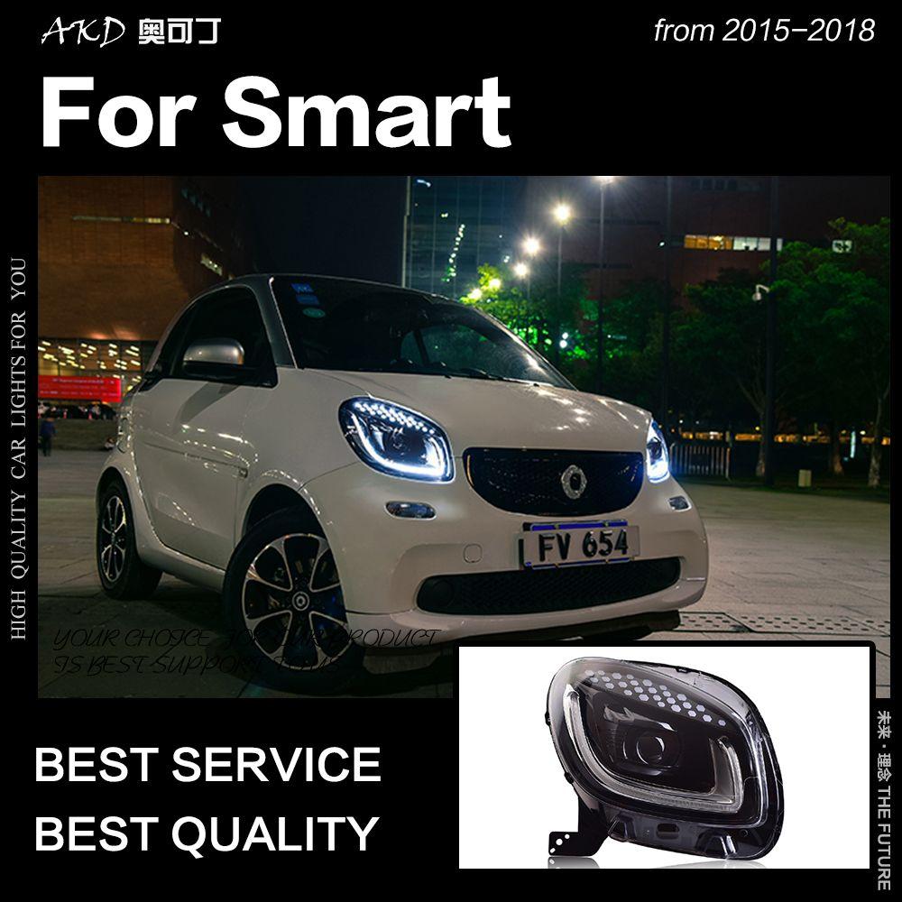AKD Auto Styling Kopf Lampe für Smart Scheinwerfer 2015-2018 Smart für Zwei LED Scheinwerfer LED DRL Hid Bi xenon Auto Zubehör