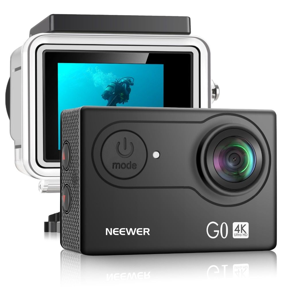 Neewer G0 HD 4K Action Camera 12MP 98 ft Underwater Waterproof Camera: 170 Degree Wide Angle WiFi Sports Cam with 2-inch Screen