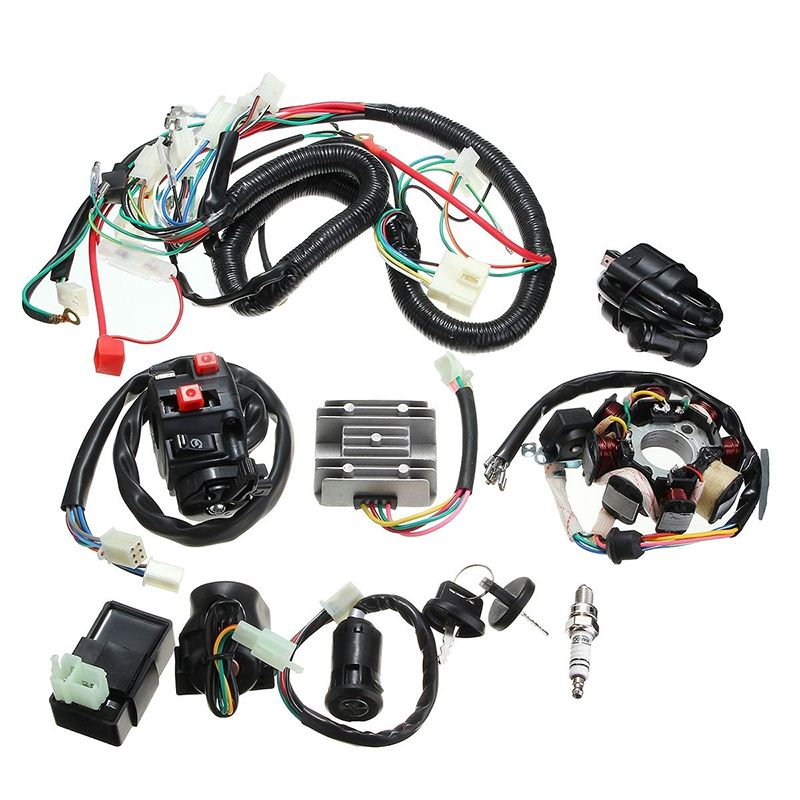 Full Electrics Wiring Harness Wire Loom CDI Stator Magneto Coil Rectifier Solenoid Relay for ATV QUAD 150/200/250CC