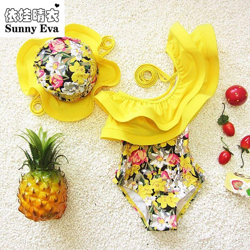 Maillot de bain une pièce ensoleillé eva maillot de bain floral pour enfants enfants fille maillots de bain vêtements enfants maillots de bain avec bonnet de bain