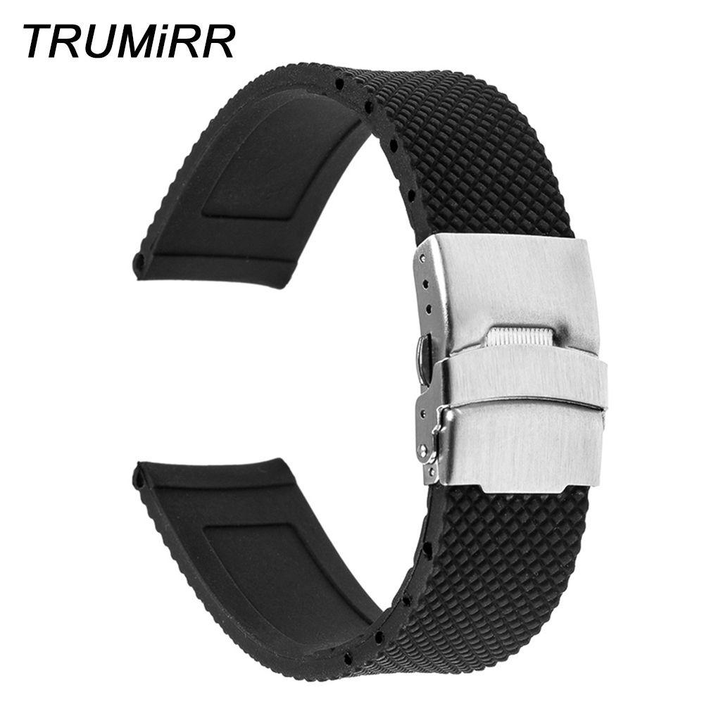 Bracelet de montre en caoutchouc Silicone 20mm pour Moto 360 2 42mm 2015 Samsung Gear S2 classique (SM-R732) Bracelet à boucle en acier inoxydable