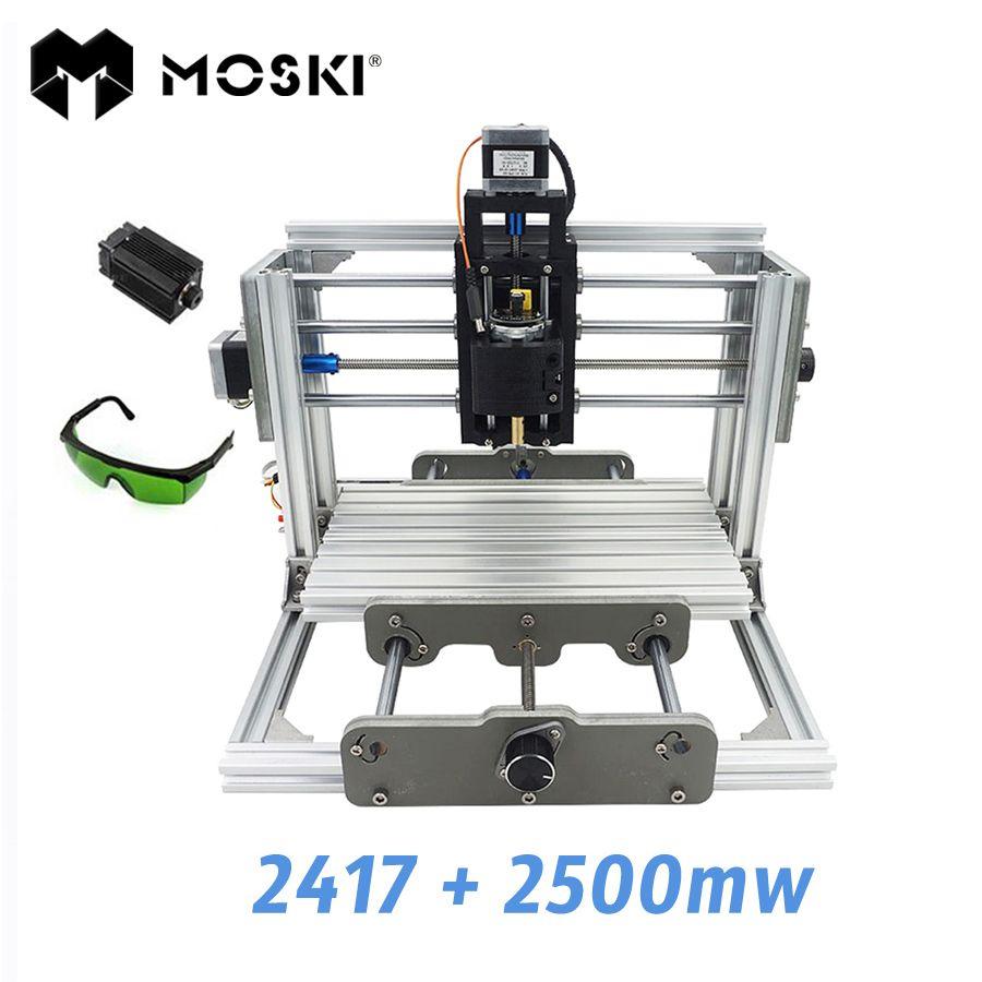 MOSKI, 2417 + 2500 mw, diy graviermaschine, mini PcbPvc Fräsmaschine, Metall Holzschnitzerei maschine, 2417, grbl control