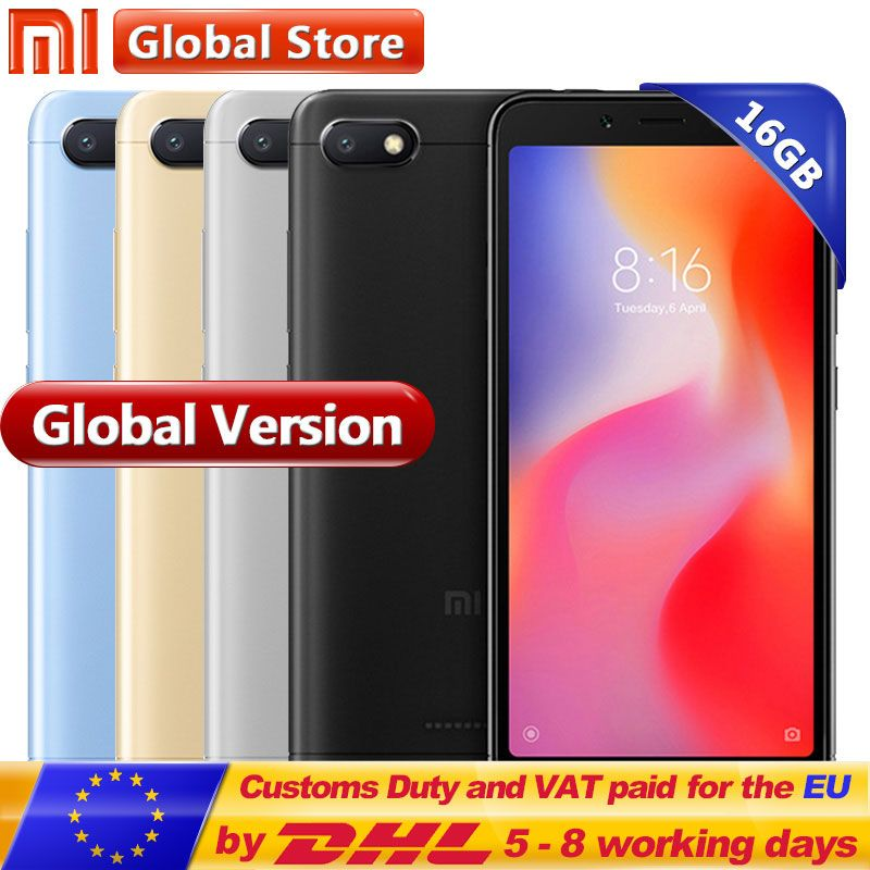Global Version Xiaomi Redmi 6A 6 A 2GB 16GB ROM RAM A22 Mobile phone 13.0 MP + 5.0 MP 3000 mAh 5.45 inch 1440*720 Mobile Phone