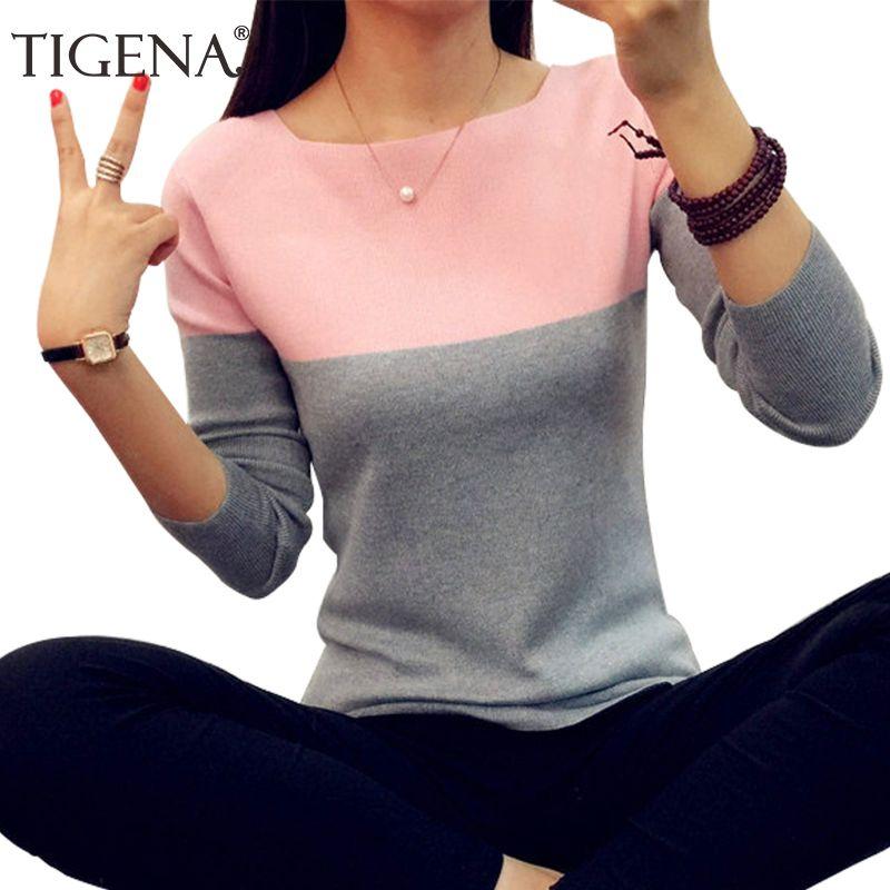Tigena Осень зимний свитер Для женщин 2018 вязать высокие эластичные джемпер Для женщин Свитеры для женщин и Пуловеры для женщин женские тянуть ...