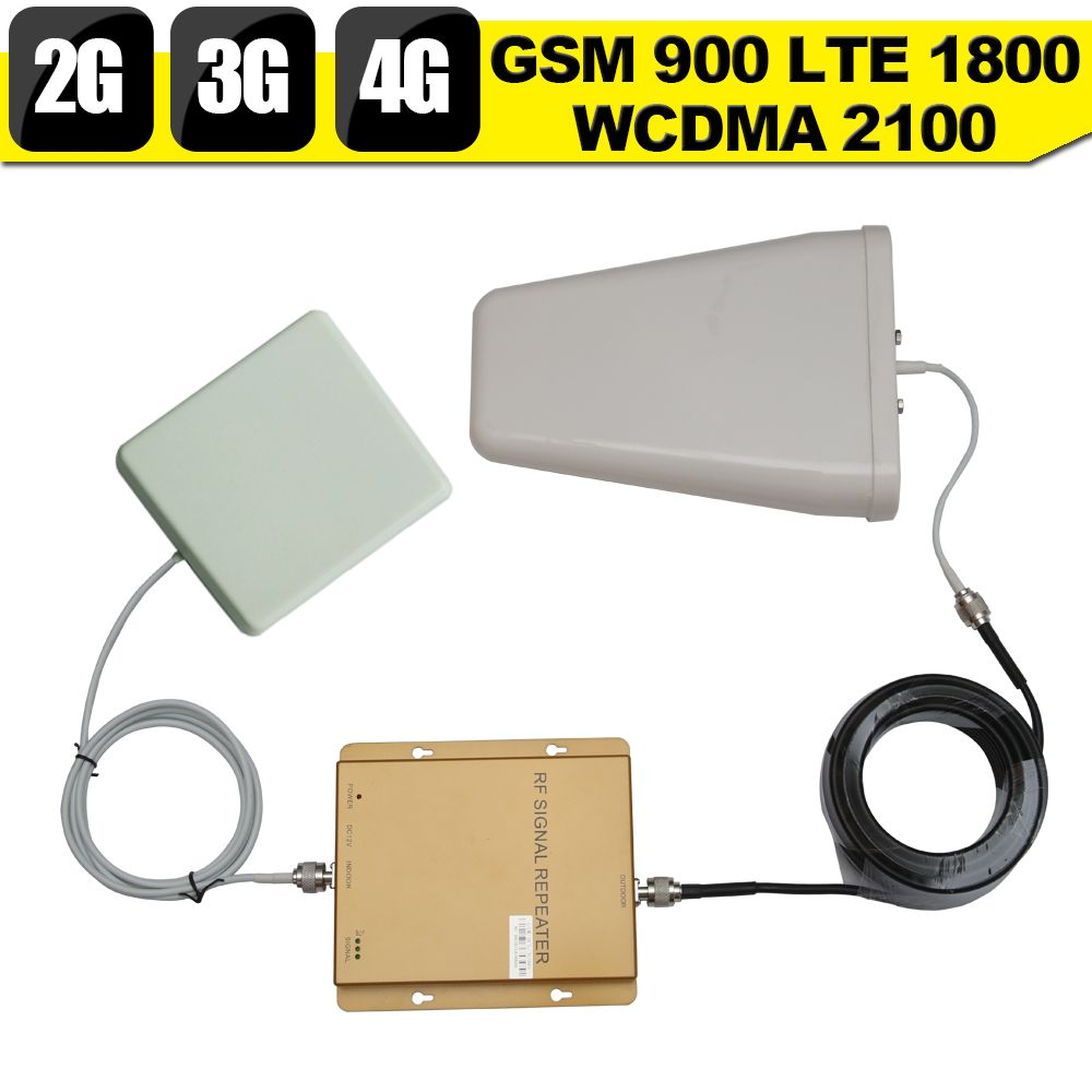 2G GSM 900 3G WCDMA 2100 4G LTE 1800 Tri Band Mobile Phone Signal Booster 65dB Phone repeater 2g 3g 4g phone repeater 2017 NEW