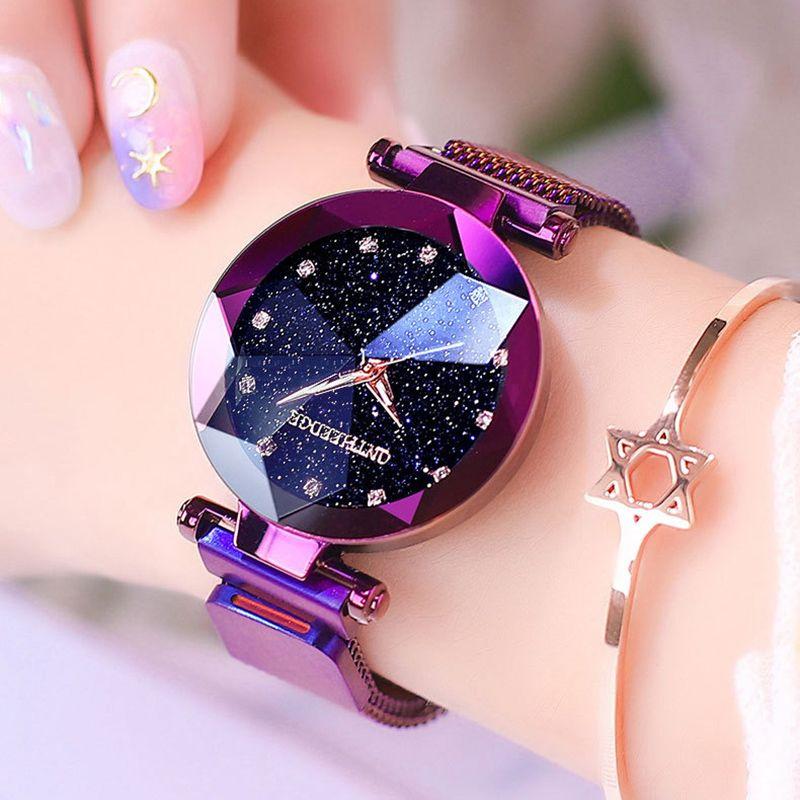Fashion Women Starry Sky Watches Luxury Diamond Clock Magnet Mesh Waterproof Female Wristwatch relogio feminino zegarek damski