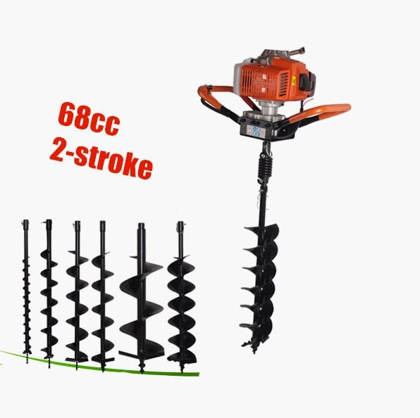 Digging tool auger drilling rig fence post auger small earth auger 68CC gasoline digging hole 150mm bit
