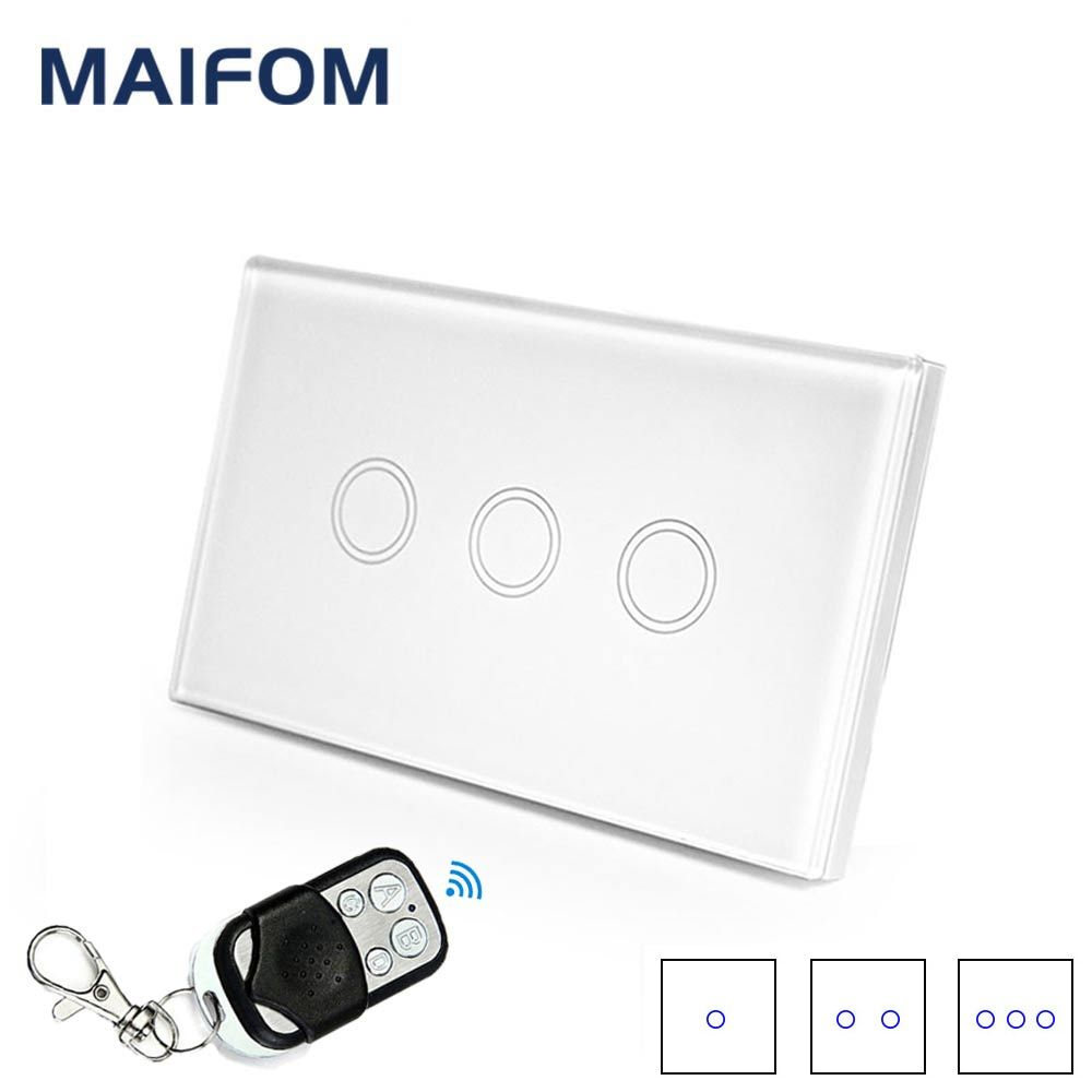 MAIFOM US Standard 90V-240V Wiress Remote Control Switch RF433 Light Switch Smart Home Wall Panel Switch for Home Hotel Office