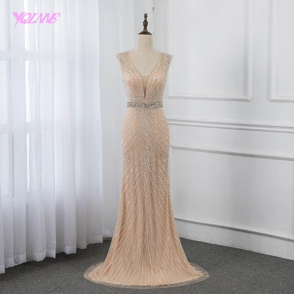 YQLNNE 2019 Champagner Meerjungfrau Abendkleid Lange Backless Kristalle Perlen Kleider Pageant Kleider