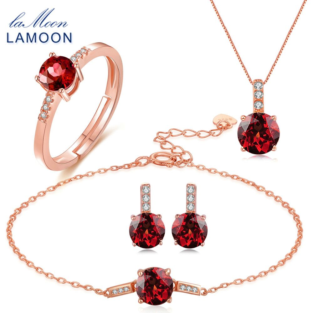 LAMOON Trendy 2ct Natural Red Garnet 925 Sterling Silver Jewelry S925 Jewelry Set V014-1